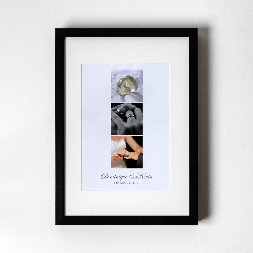 Photo Trio Anniversary - Personalised Art Print (Black Frame)