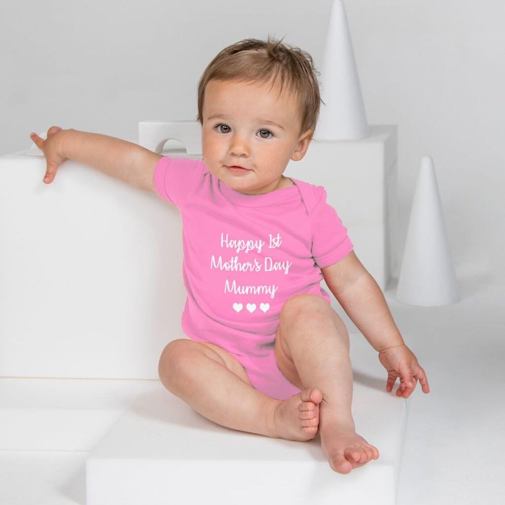 Personalised Baby Grow - Script Lettering (3 Hearts)