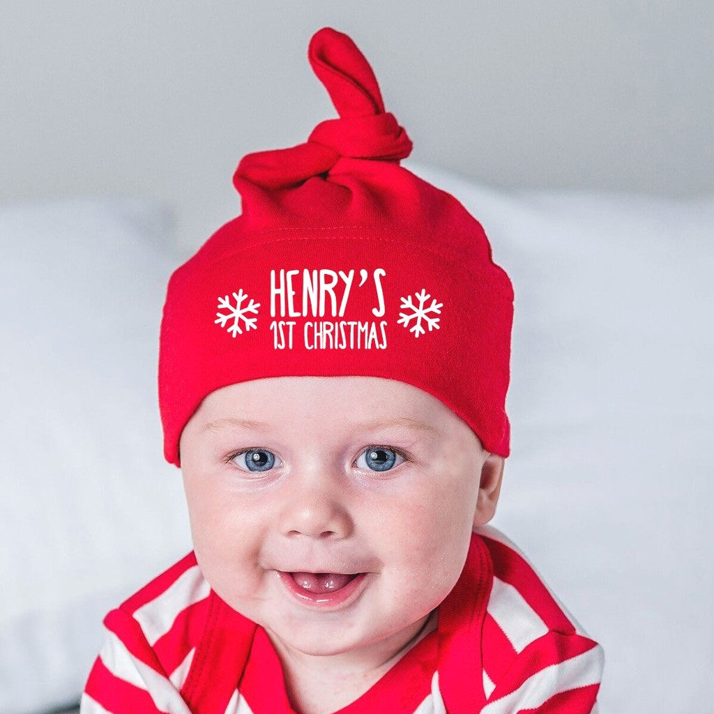 5a9194c2dff5c0 Personalised Christmas Baby Hat - First Christmas - Able Labels
