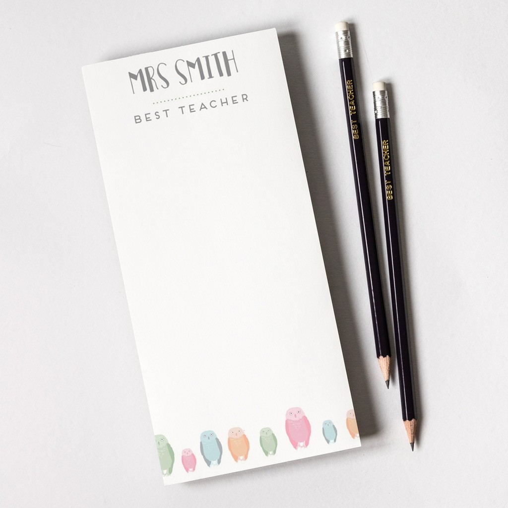 Personalised teacher note pad - owl print design