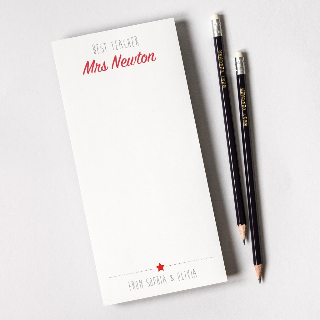 Personalised Teacher Notepad and Pencils - Best Teacher