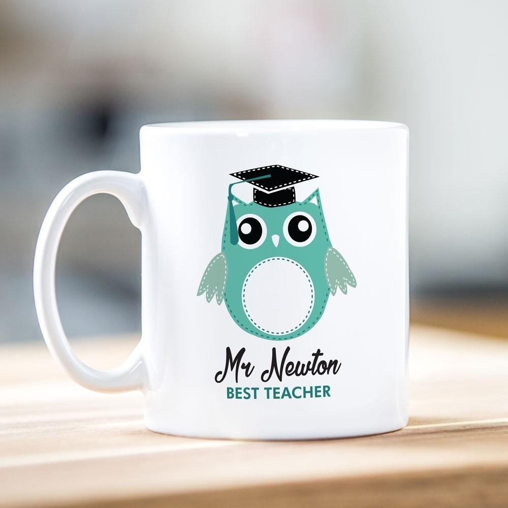 Best Teacher Green Owl Mug