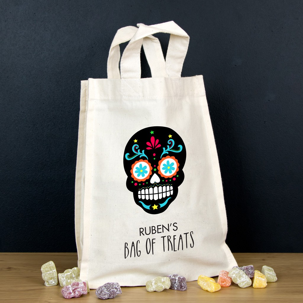 Personalised Halloween Trick or Treat Bag - Black Skull