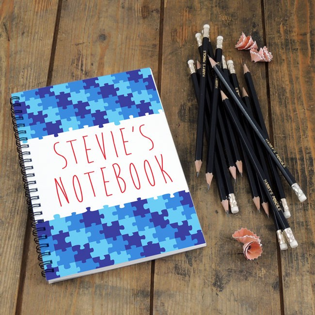Blue Puzzle Notebook & Pencil Gift Set