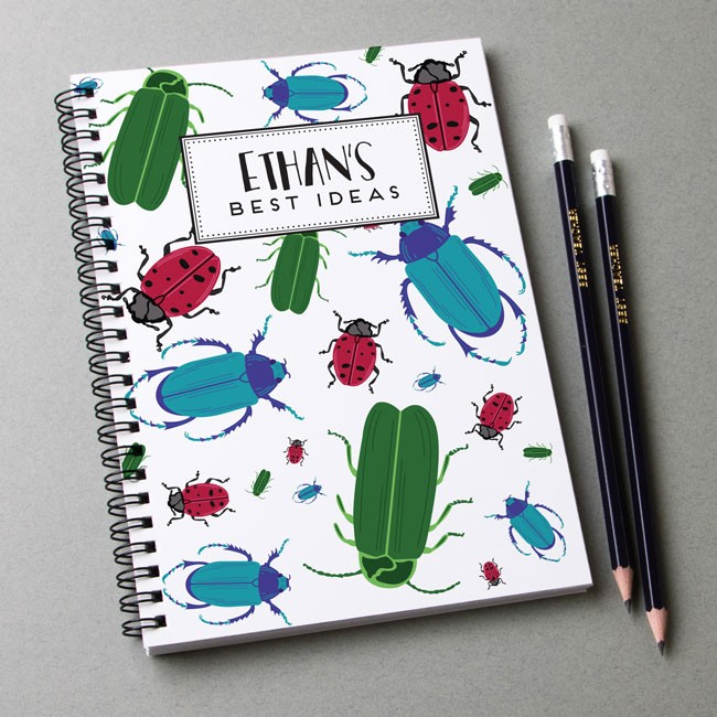 Bugs Pattern Notebook & Pencil Gift Set