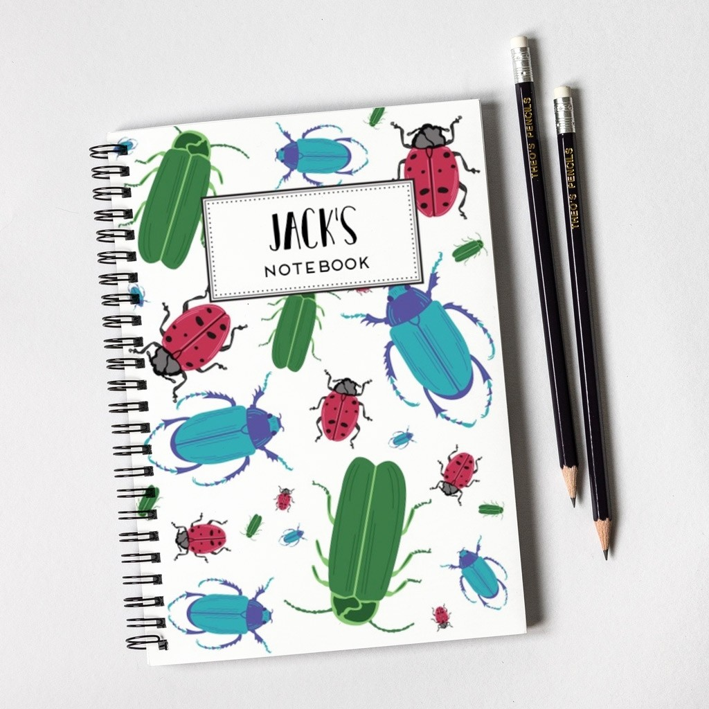 Bugs Pattern Notebook & Pencil Gift Set