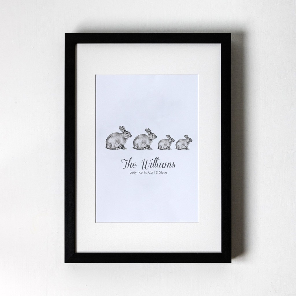 Family of Bunnies - Personalised Art Print