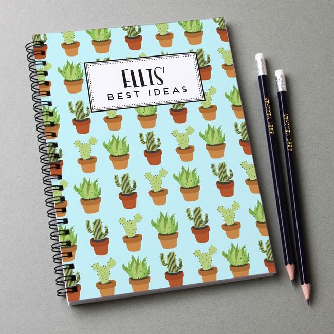 Cactus Pattern Notebook & Pencil Gift Set