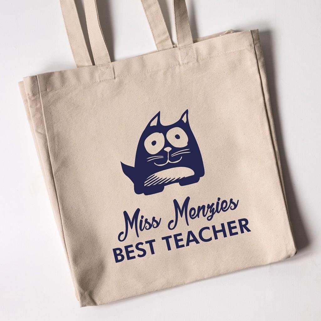Best Teacher Tote Bag - Cat (Natural)