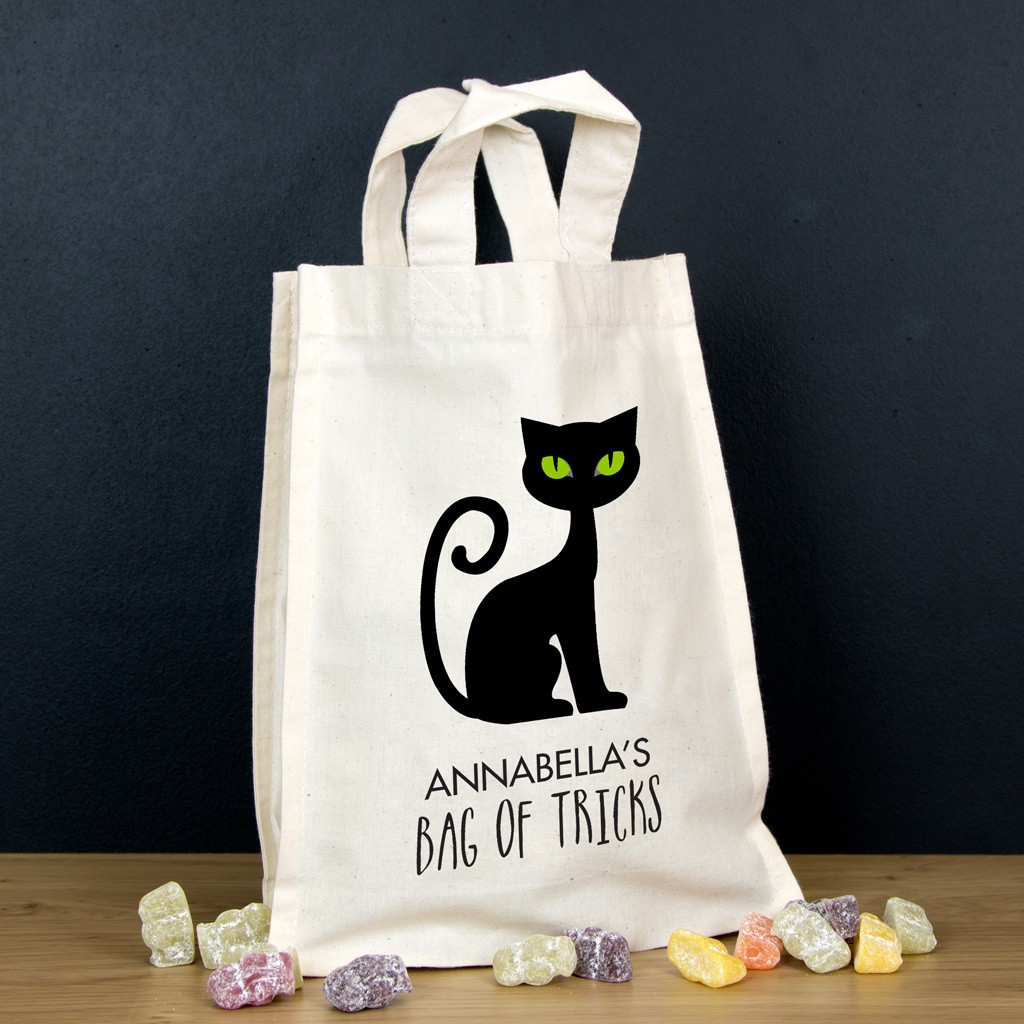 Personalised Halloween Trick or Treat Bag - Cat