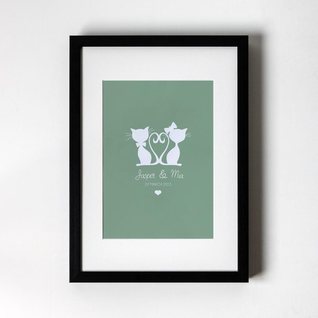 Cat Design - Personalised Art Print (Black Frame)
