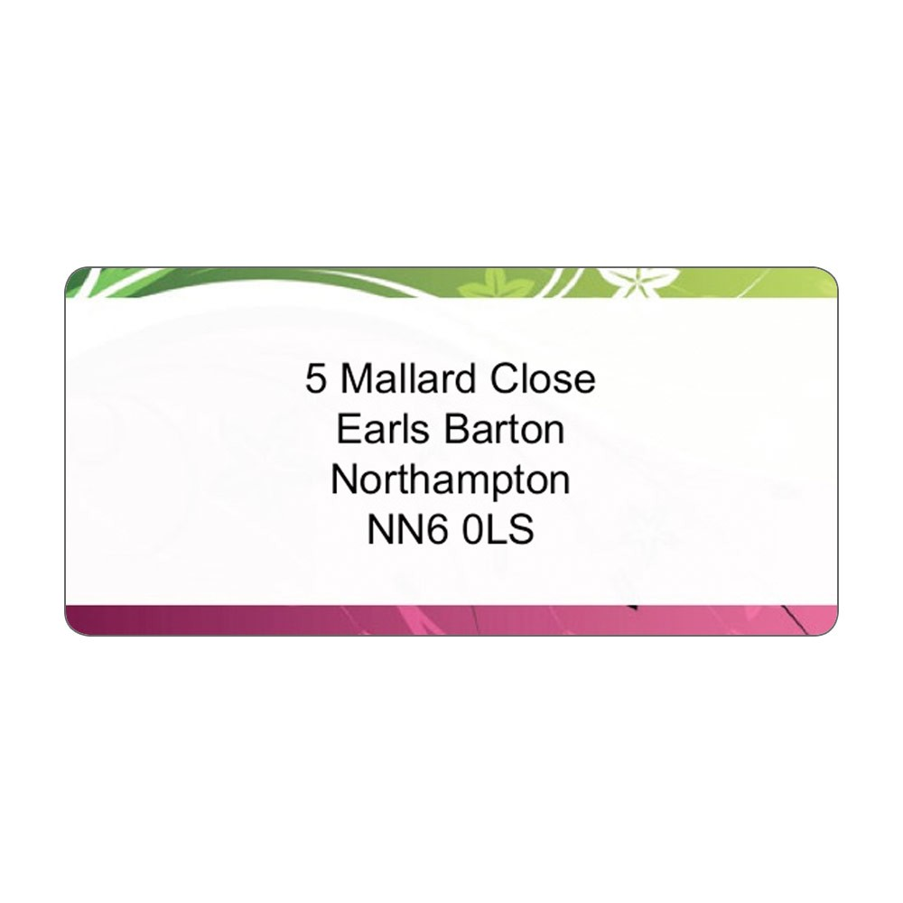 Colour Border & Text Address Label A4 Sheets
