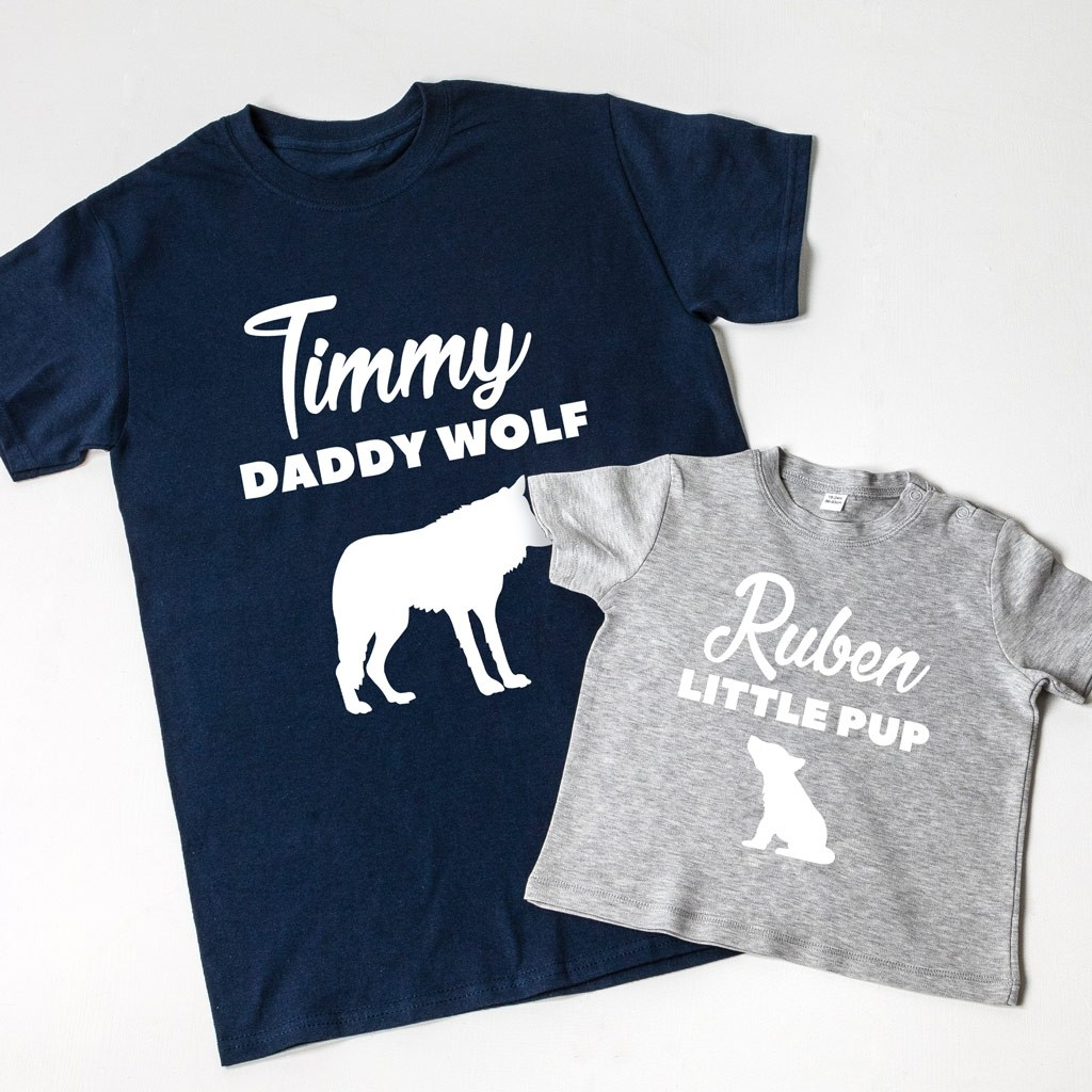 Personalised Father's Day Daddy Wolf/Little Pup T-Shirt Set