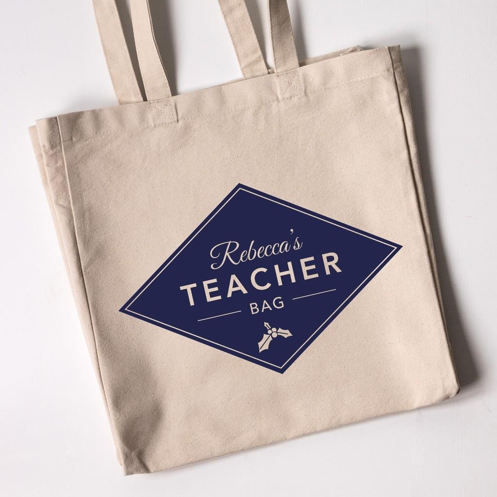 Personalised Teacher Christmas Tote Bag - Diamond