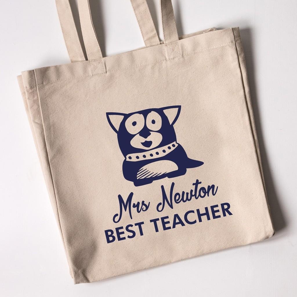 Best Teacher Tote Bag - Dog (Natural)