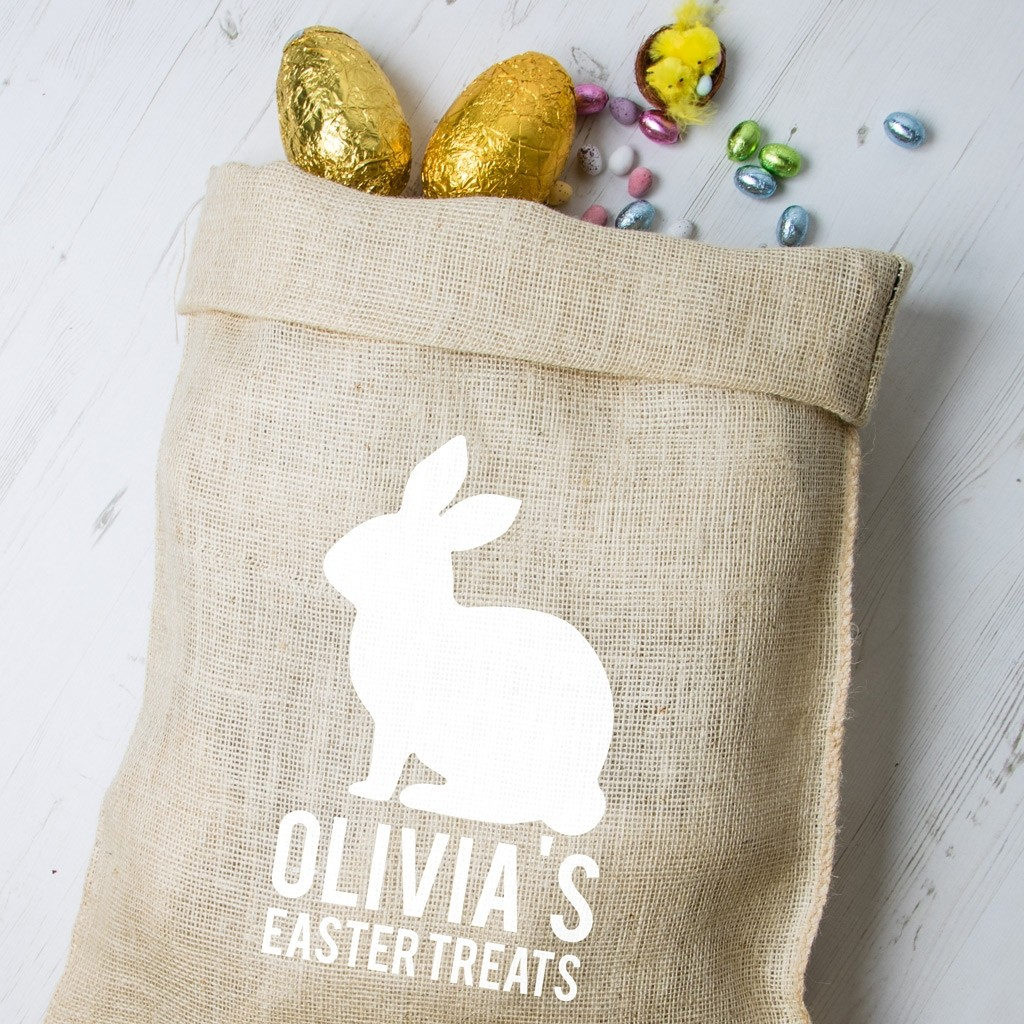 Personalised Easter Hessian Sack - Bunny 3