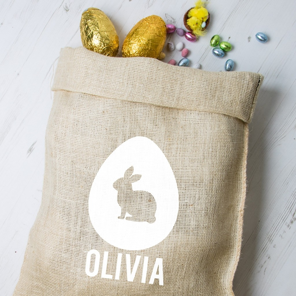 Personalised Easter Hessian Sack - Bunny 1