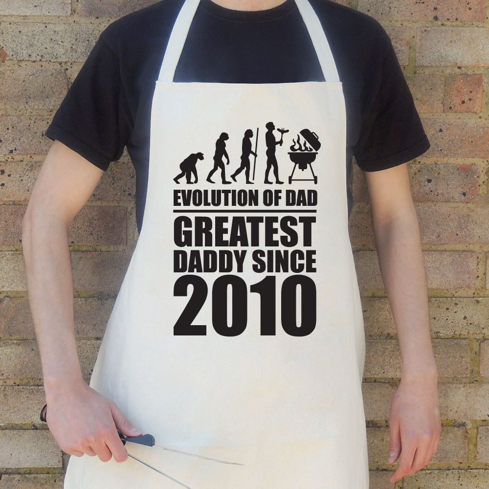 Father's Day Evolution of Dad Apron - Cream