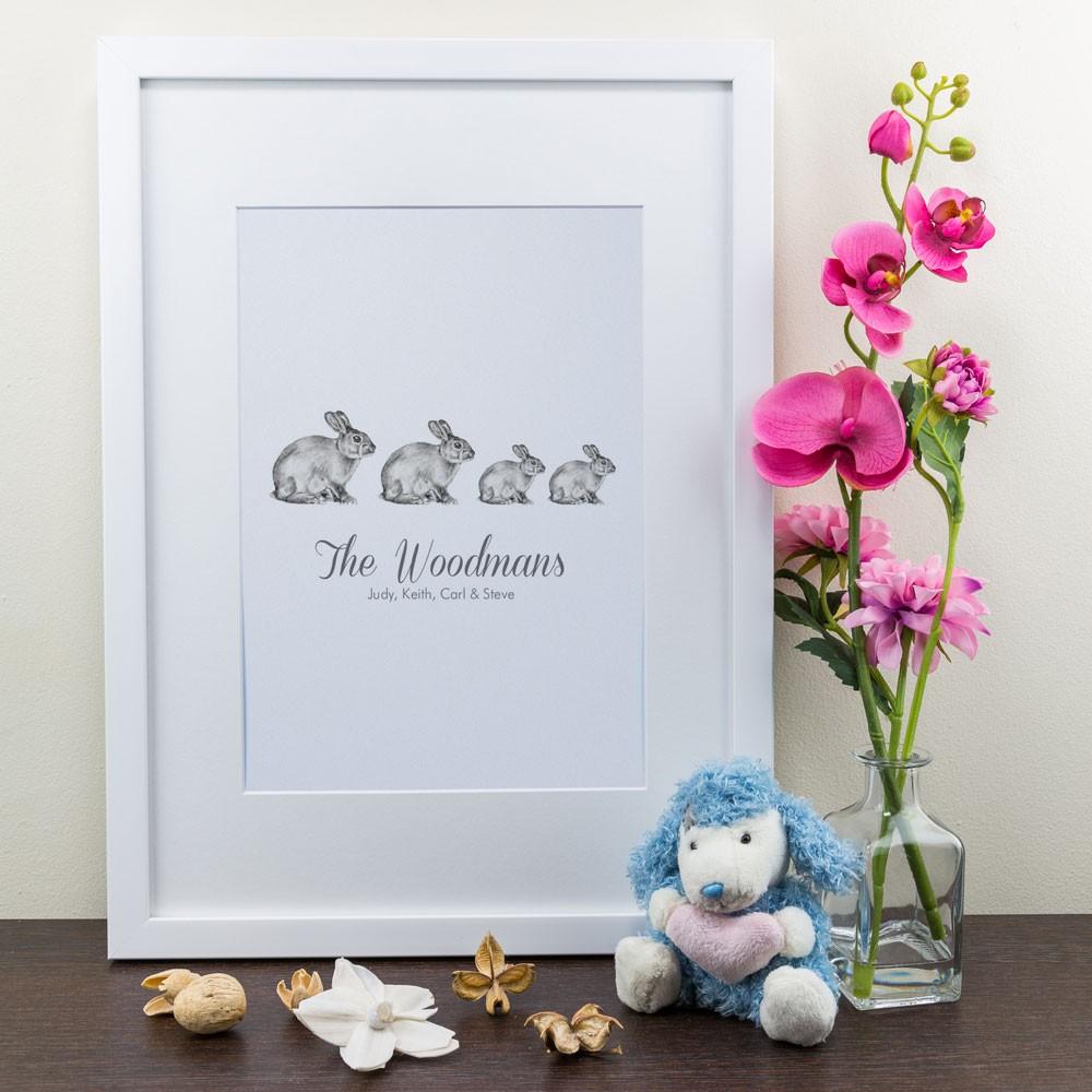 Family of Bunnies - Personalised Art Print