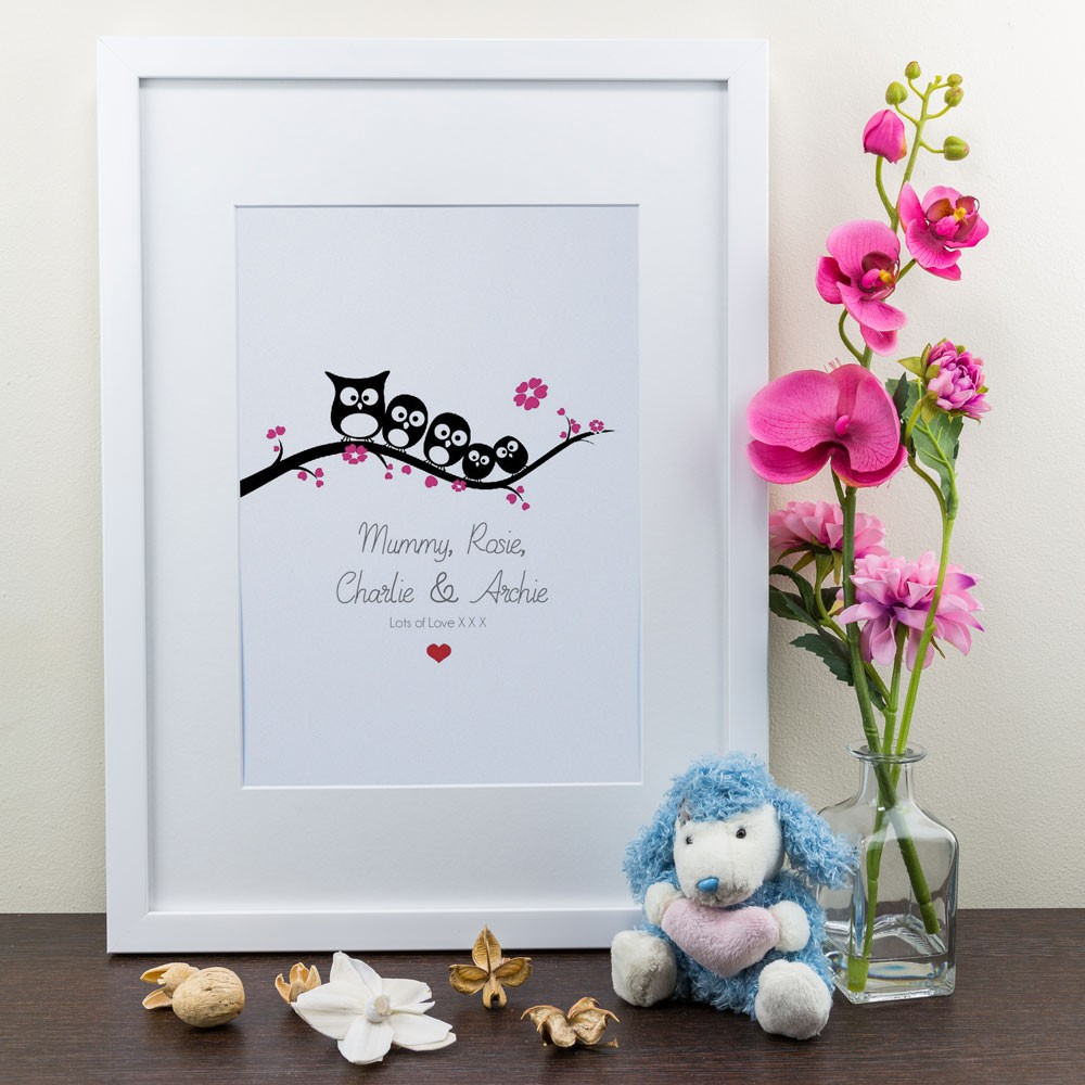 Family of Owls - Personalised Art Print