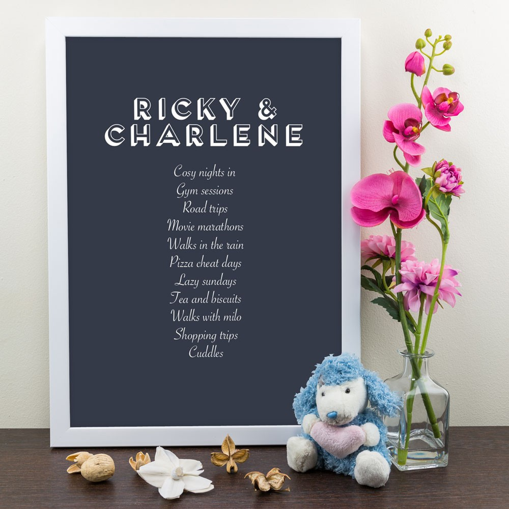 Favourite Things Personalised Art Print