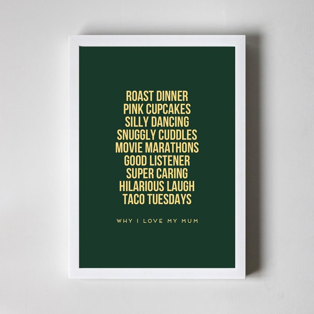 Personalised Foiled Art Print - Why I love... - White Frame