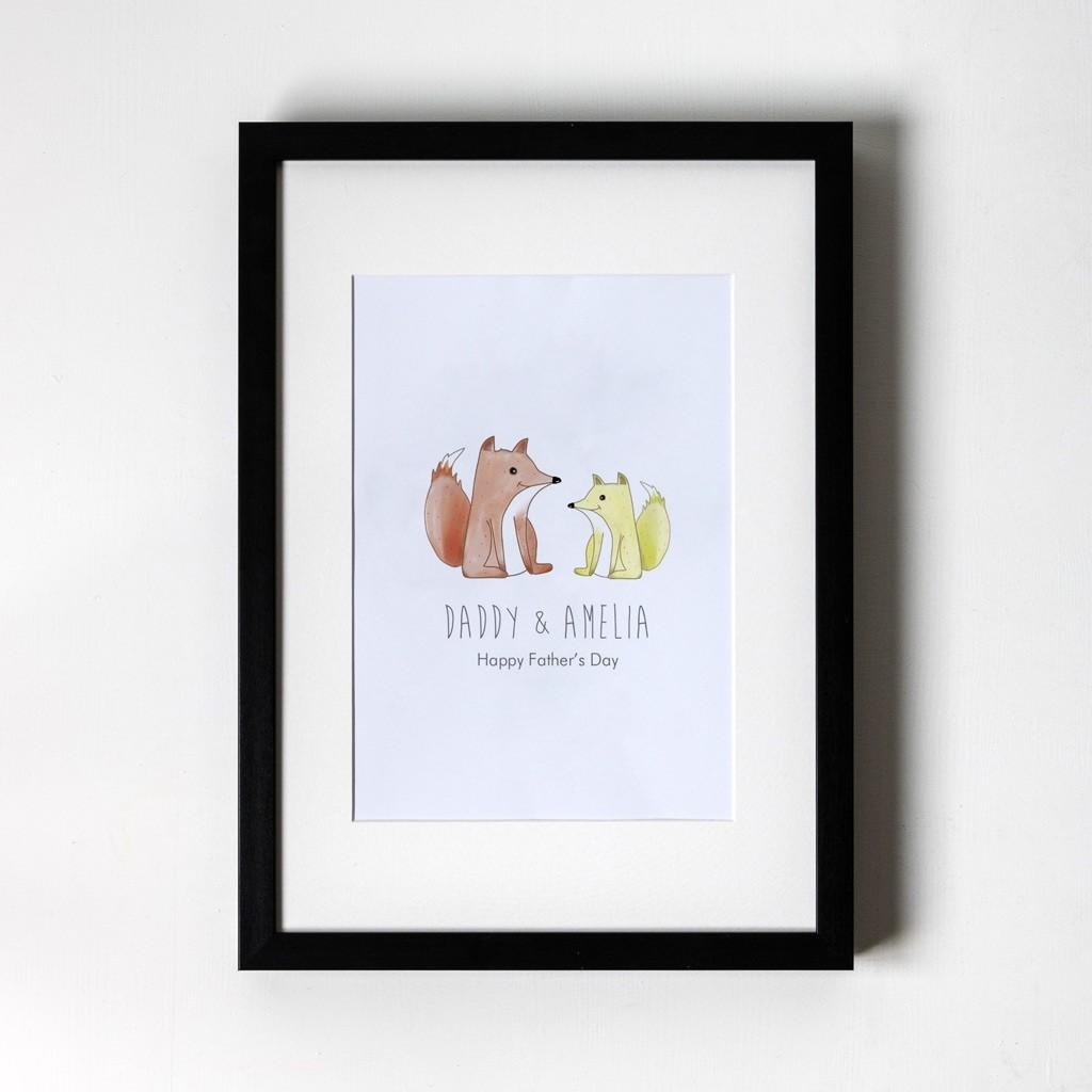 Foxes - Personalised Art Print (Black Frame)