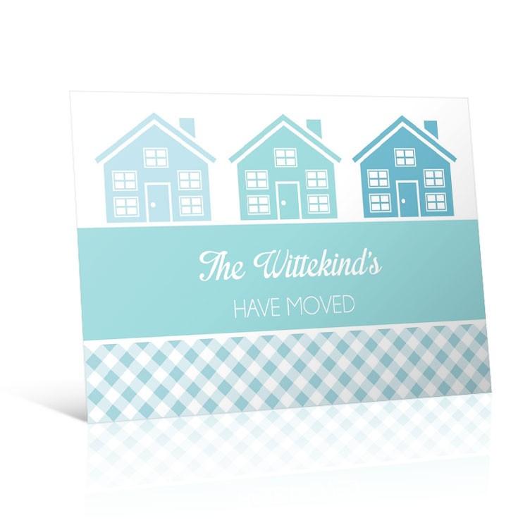 Gingham Houses - Change of Address Postcard