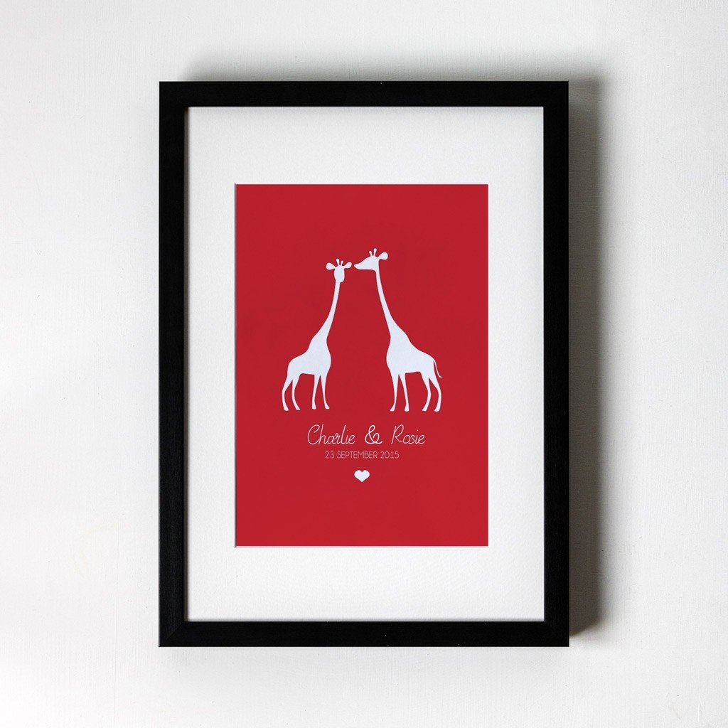 Giraffe Design - Personalised Art Print (Black Frame)