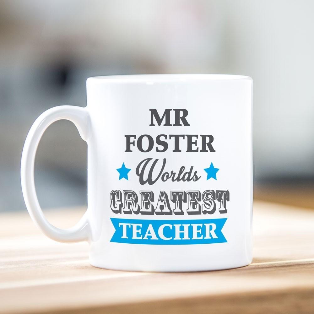 Worlds Greatest Teacher Blue Mug