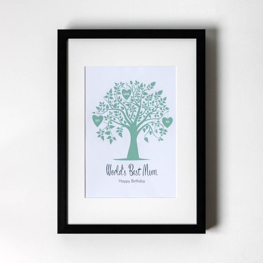 Green Family Tree - Personalised Art Print