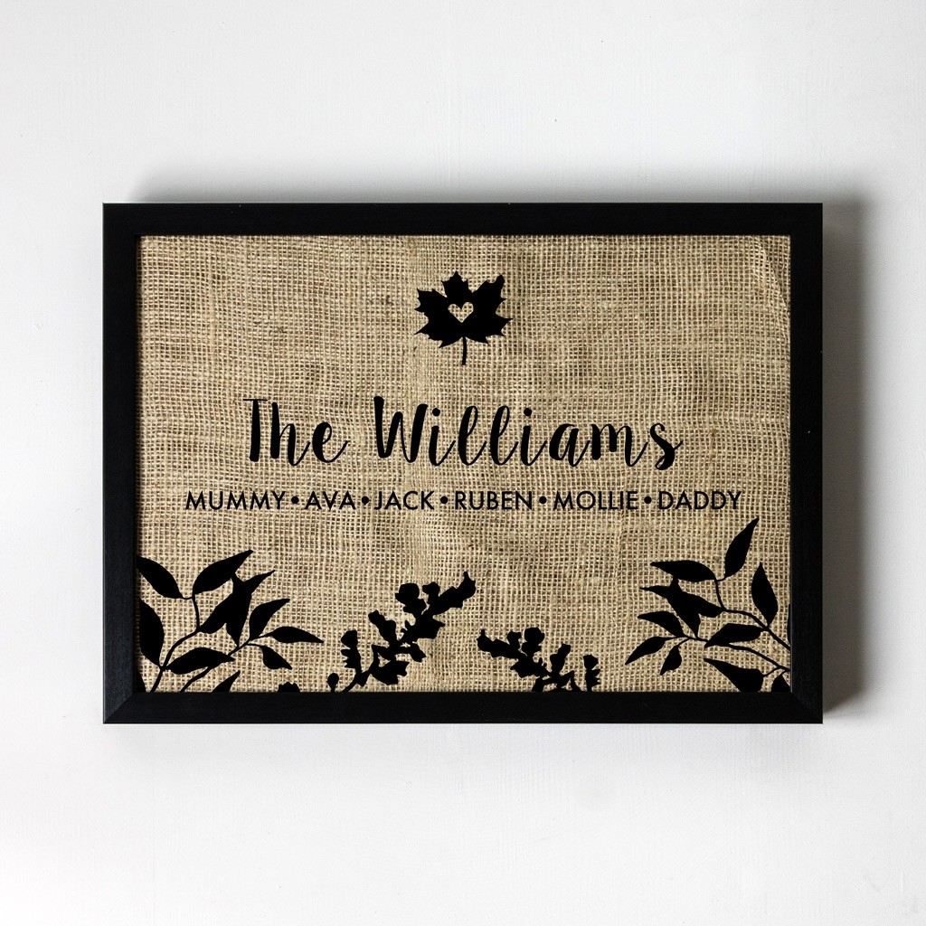 Flower Silhouette - Personalised Hessian Art Print