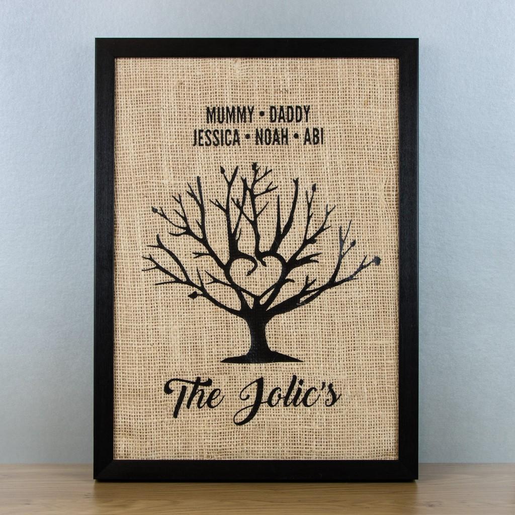 Personalised Family Tree Hessian Framed Art Print