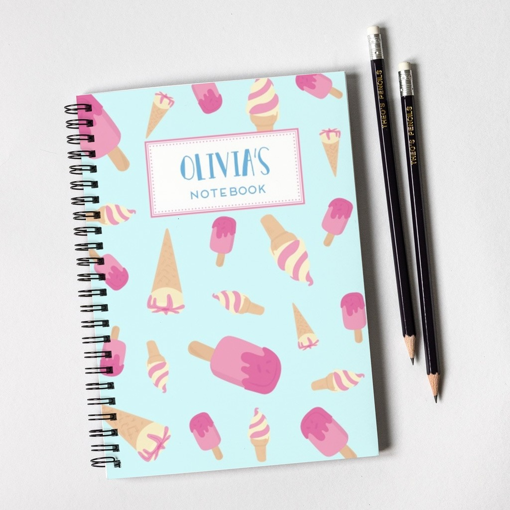 Ice Cream Pattern Notebook & Pencil Gift Set