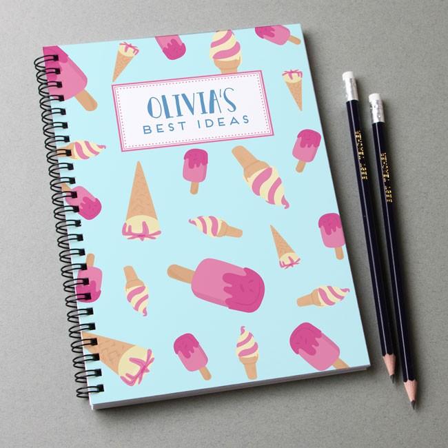 Ice Cream Pattern Notebook & Pencil Gift Set