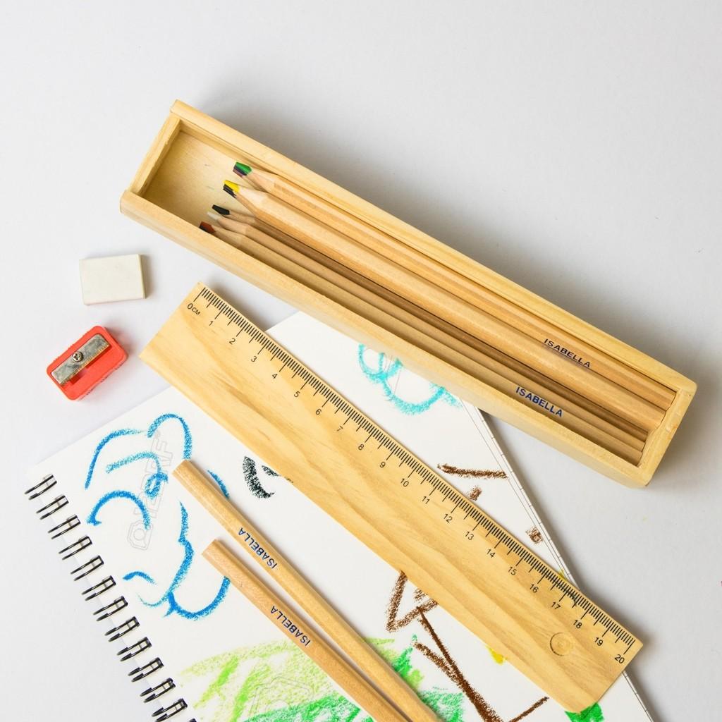 Retro Wooden Pencil Box