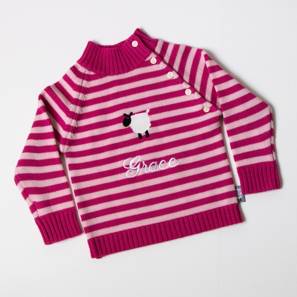 Luxury Merino Wool High Neck Jumper - Pink / Baby Pink