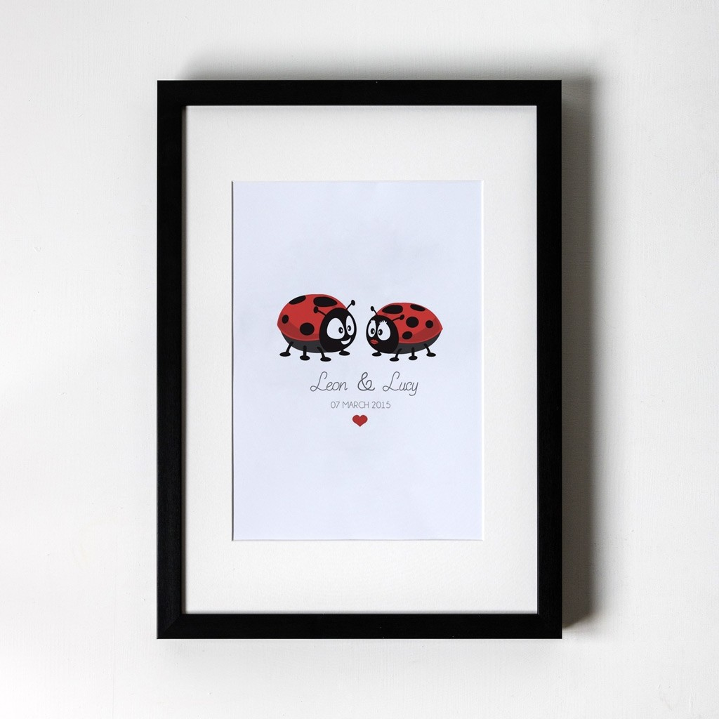 Ladybird Design - Personalised Art Print (Black Frame)