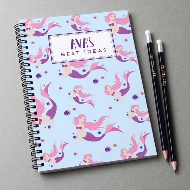 Mermaid Pattern Notebook & Pencil Gift Set