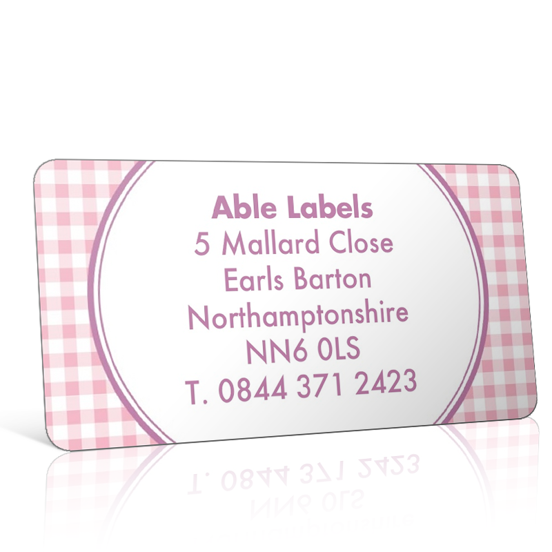 Pre Designed Pink Gingham Address Label on A4 Sheets