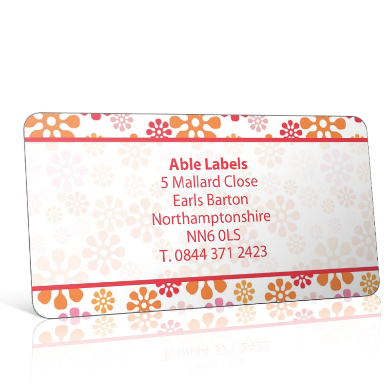 Pre Designed Orange Flower Address Label on A4 Sheets