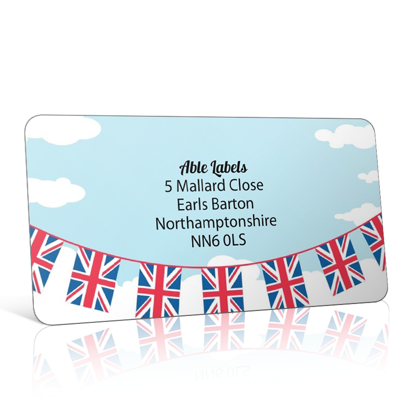 Pre Designed Union Jack Bunting Address Label on A4 Sheets
