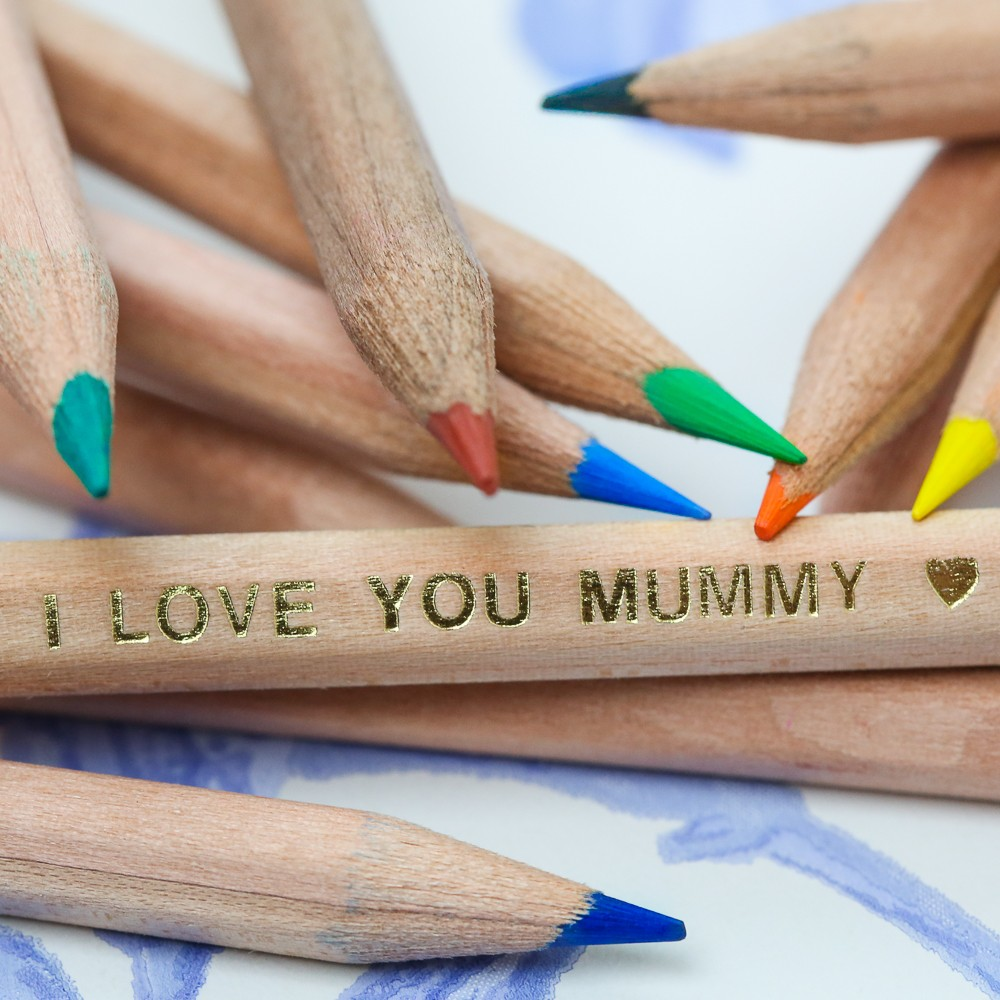 Mother's Day Natural Wood Colouring Pencils