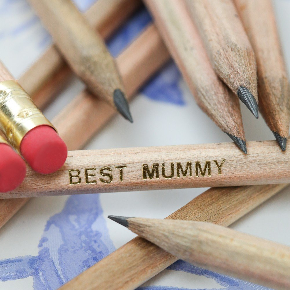 Mother's Day Natural Wood Graphite Pencils