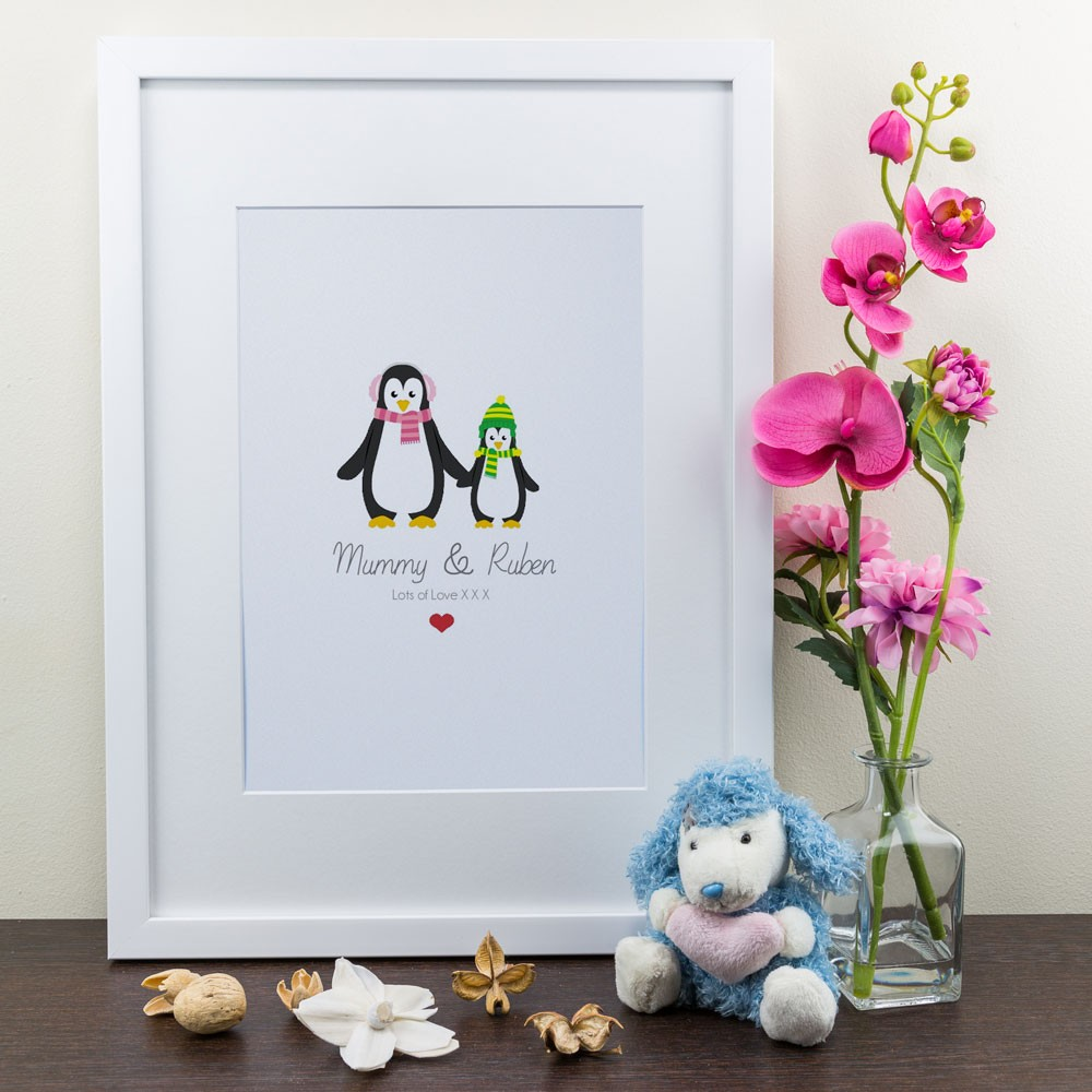 Mum & Child Penguin - Personalised Art Print