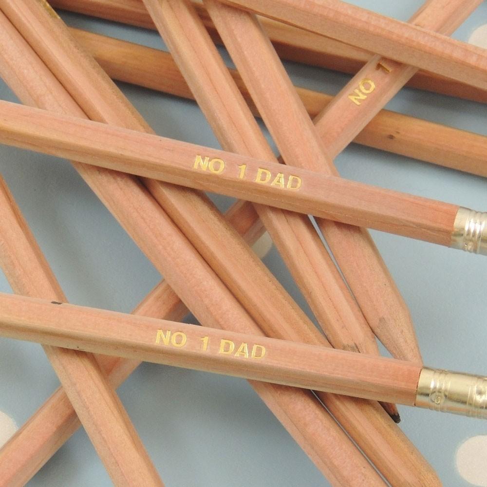 "12 Pre Stamped ""No.1 Dad"" Natural Wood Pencils"
