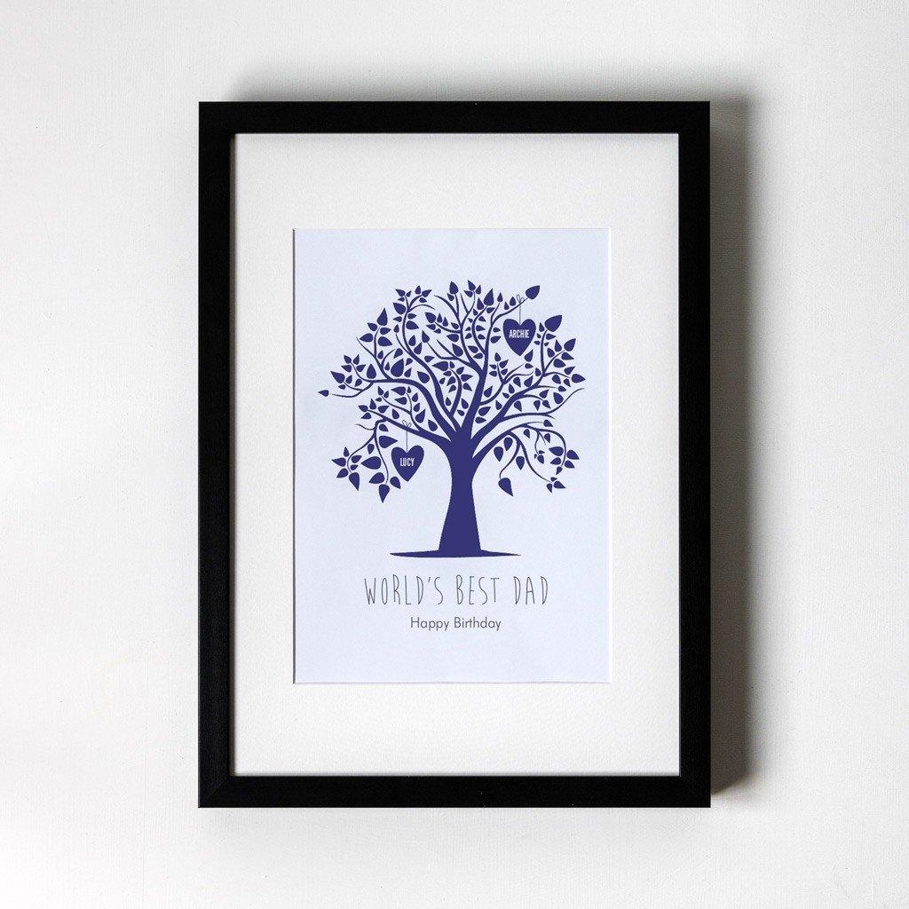 Blue Family Tree - Personalised Art Print - Black Frame