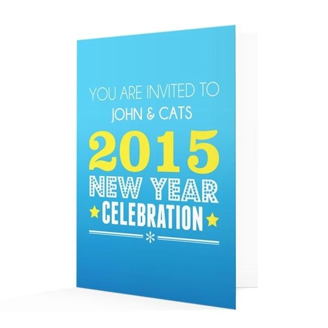 New Year's Invitation Card - Blue