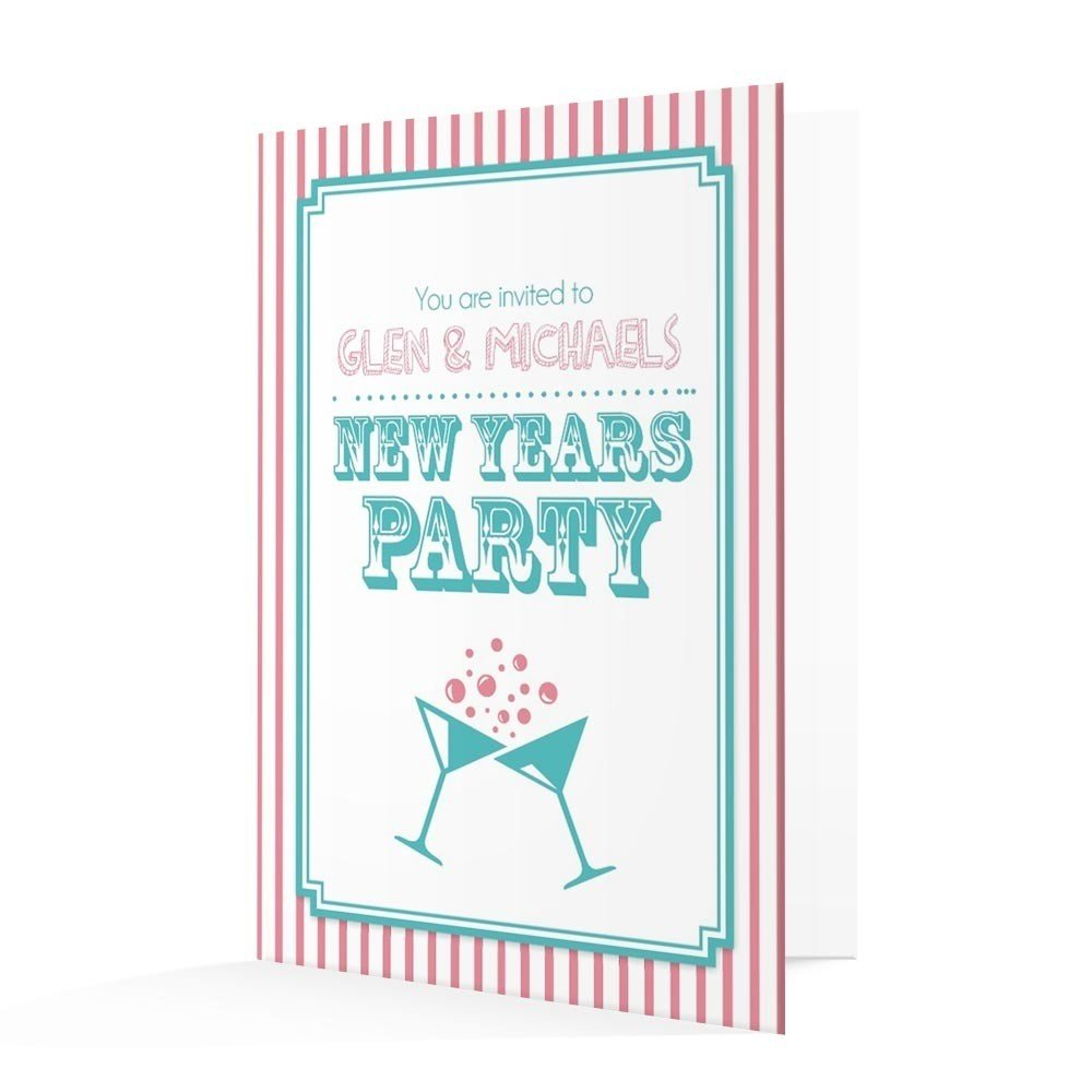 New Year's Invitation Card - Pink and Blue Candy Stripe