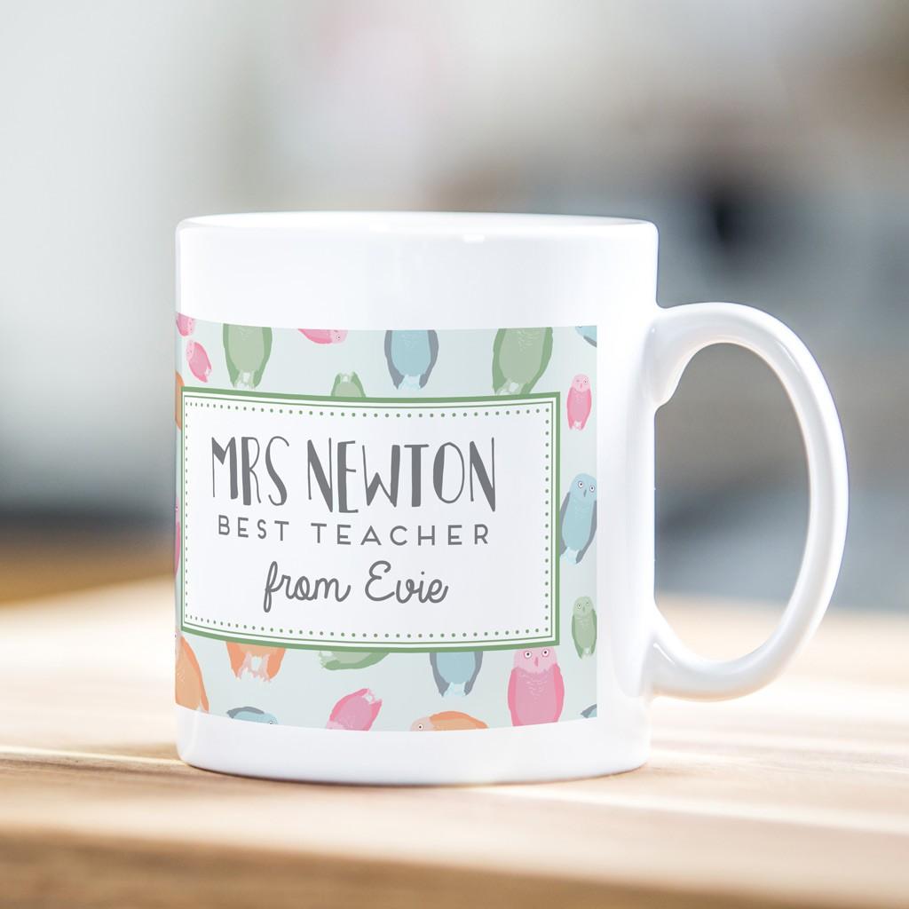 Personalised teacher mug – owl print design